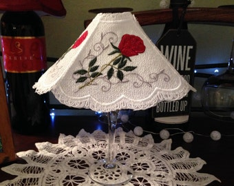 Lace Wine glass shade tea light shade lace accent shade white lace red roses light shade handmade lace wedding gift wine accent lace shade