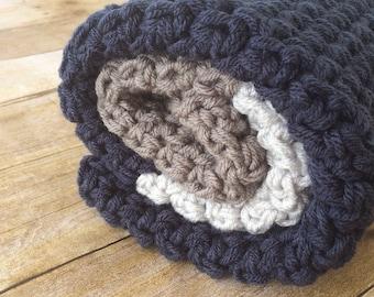 Baby Blanket Crochet - Nautical Nursery - Crochet Baby Blanket - Baby Boy - Modern Baby Afghan - Stroller Blanket - Navy Grey