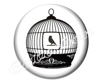 1 cabochon 30 mm, silhouette, black and white bird cage