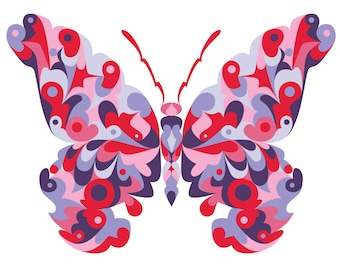 Butterfly. Cross Stitch pattern, Digital Download PDF. Geometric butterfly design with beautiful colorful patches. Bright and Modern