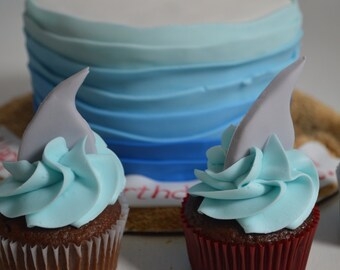 Edible Fondant Shark Fin Cupcake Toppers