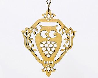 Whimsical Owl Necklace - Laser Cut Wood (C.A.B. Fayre Original Design)