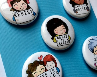 Resist Protest Signs Womens March Magnets or Pinbacks set of 5 byLauren Ingraham
