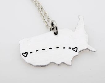 Long Distance Relationship Dainty Necklace Jewelry USA MapCustomize  ldr Long Distance Love Best friend Family living apart going away gift