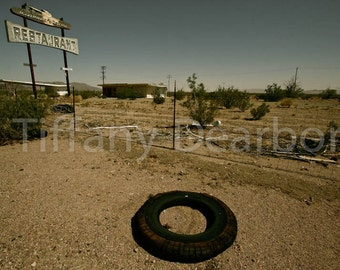 Road Runner's Retreat - Route 66 - Mother Road - abandoned restaurant - desert ghost town - California - retro sign - 8x10 color print