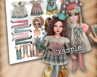 Bedruckbar, Papier-Puppen, Digital, Collage Blatt, hübsche pastellfarbene Puppen, verändert Kunst-Puppe, Vintage bedruckbar, Decoupage Papier, Handwerk-Blatt