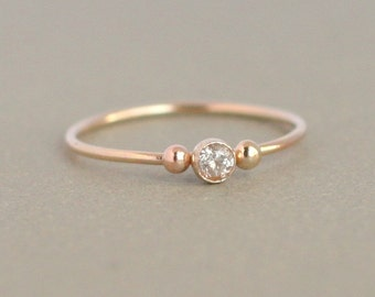 gold ring. wedding ring. cz diamond. birthstone ring. ONE delicate stackable birthstone ring. mothers ring. 14k gold filled. engagement ring