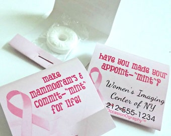 Pink Ribbon Breast Cancer Awareness Mint Matchbooks with Lifesavers Mints--PACK OF 24--Matchbook Mints-Personalized mintbooks