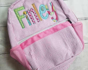 Personalized Seersucker Diaper Bag - Toddler Backpack - Girls Diaper Bag - Toddler Seersucker Backpack - Monogrammed Backpack