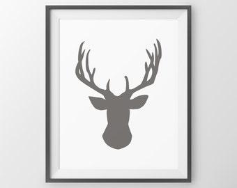 Woodland Nursery Deer Print Deer Antler Decor Antler Print Deer Wall Decor Deer Wall Art Wall Art Deer Picture Deer Poster