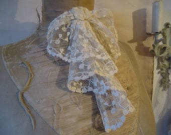 Antique Tulle lace Jabot vintage French shabby Chic