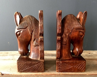 Vintage Wooden Horse Head Bookends Mid Century Handcrafted