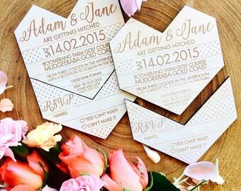 SAMPLE Wooden Wedding invitation. Geometric heart. Snap off RSVP. Sample only.