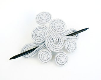 Bridal hair accessory, Metal hair pin, Hairstyle sparkly fascinator, Wedding silver barrette, unique Headdress, Shawl Pin brooch, Bridesmaid