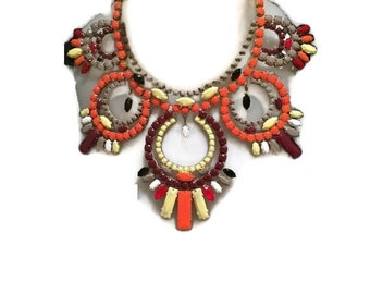 ON FIRE marsala burned orange custardyellow and toasted almond rhinestone statement bib necklace