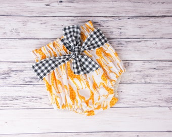 High Waisted Giraffe bloomers- Giraffe diaper cover, giraffe outfit, zoo party, toddler zoo outfit, zoo birthday party outfit, toddler zoo