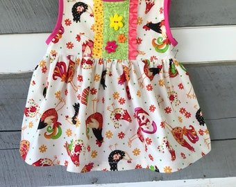 Baby Girl Dress, Chicken Dress,  Farm Girl Dress, OOAK Baby Girl Dress,