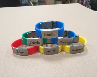 Klikit Silicone Rubber Bracelet with Stainless Steel Engraved Plate, medical alert, children's ID, bicyclist ID
