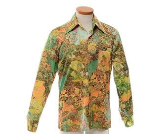 Vintage 70s Fantasy Print Nylon Disco Shirt 1970s Cue Cloth by Troy Hippie Fields Flower Child Middle Ages Graphic Pimp Shirt / mens M