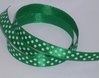 5 m ruban satin vert à pois blanc largeur 9 / 10 mm
