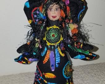 "Whimsical, 6"" fiber sculpted Dream Catcher angel, silk face, Swarovski crystal accents"