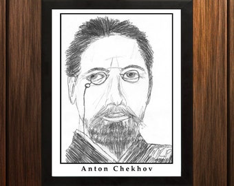 Anton Chekhov - Sketch Print - 8.5x11 inches - Black and White - Pen - Caricature Poster
