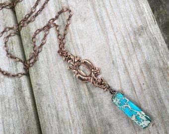 Ornate Copper Keyhole & Turquoise Jasper necklace long boho layering necklace boho chic gemstones modern tribal trendy gift bohemian romance