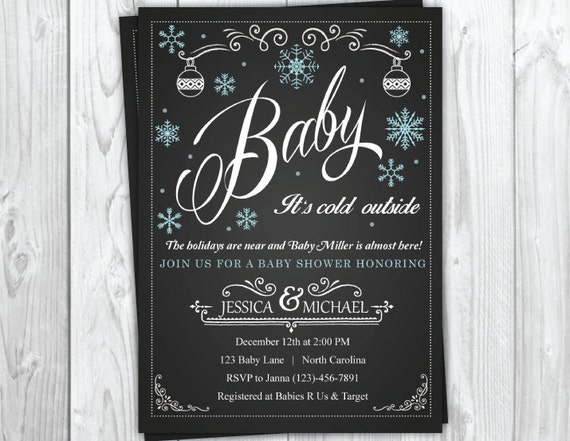 Winter Holiday Baby Shower Invitation, Christmas Baby Shower Party, Snowflake Baby Shower, Winter Baby Shower
