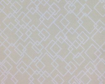 Dear Stella Fabric - Palladium Gridlock White Squares on Sand Cream YARDS