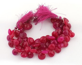 Memorial Day 1 Strand Hot Pink Chalcedony Faceted Briolettes - Heart Shape Beads 12mm-13mm 8 Inches SB3087