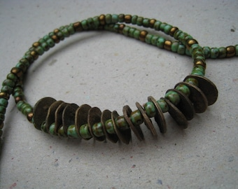 Rustic Bronze Disks and Turquoise Picasso Seed Bead Necklace - Bronze Necklace - Disk Necklace