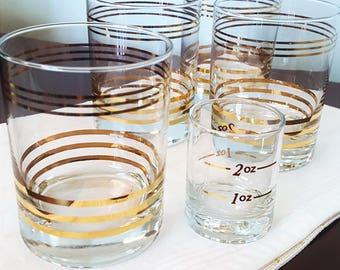 Retro Set of Gold Barware Glasses and Shot Glass