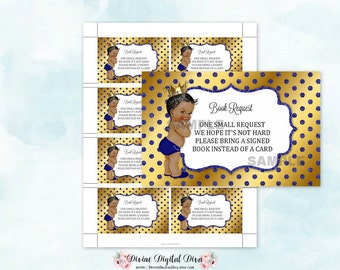 Book Request Royal Blue Gold | African American Baby | Little Prince | Digital Instant Download