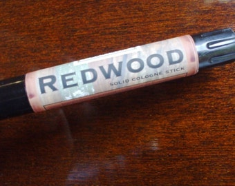 Solid COLOGNE Stick - REDWOOD - brisk woodland scent by Man Cave Soapworks .99 shipping