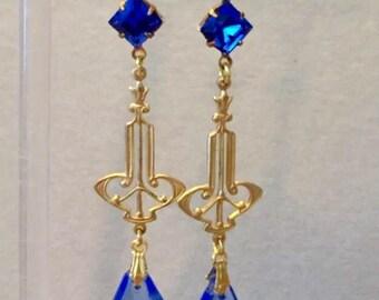 Handmade Dropper Earrings, Art Deco Style Dropper Earrings, Blue Earrings, Crystal Earrings, Blue Earrings, Art Deco Earrings, Drop Earrings