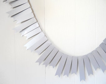 Silver Garland / Holiday Decor / Silver Wedding Garland / 10 ft Silver Bunting / Flag Fringe Garland / Shiny Bunting / Silver Bunting