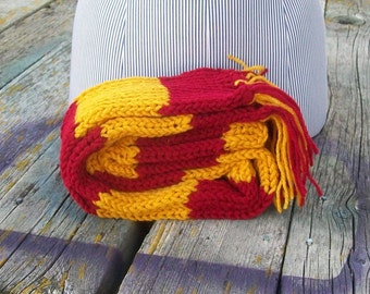 Knitted Red and Gold Long Scarf Potter Ready To Ship