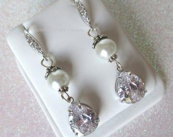 Earrings bride pave, swarovski pearl dangle drop earrings, bride earrings, bridal jewelry, wedding jewelry, bride gift, cubic zarconia