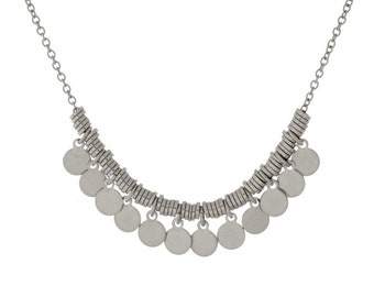 Silver Metal Small Coin Charm Necklace