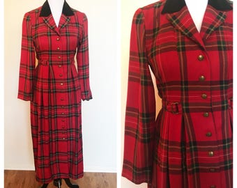 Vintage 90s Red Plaid Long Sleeve Button Up Maxi Dress Jacket 6