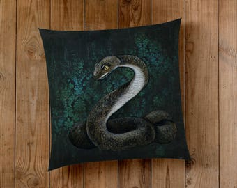 Decorative Pillow of The Snake - Wizard House cunning folk use any means, to achieve their ends