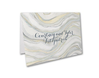 Watercolor Wedding Thank You Note Cards, Sandstone Inspired Watercolor Thank You Note Cards Designed By Shell Rummel, Envelopes Included