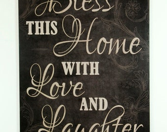 Black country wood sign Bless this home with Love & Laughter, Inspirational Home Decor, family housewarming gift, wall hanging signs, plaque