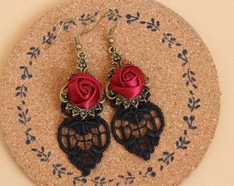 Rose drop earrings lace earring