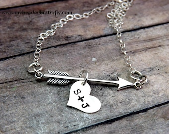 Personalized necklace-Valentines Day-cupids arrow- Hand stamped-arrow and heart necklace-boyfriend-girlfriend-necklace-heart with arrow-