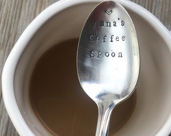 Vintage flatware coffee spoon ONE hand stamped spoon stamped with Nanas coffee spoon fun Grandma gift