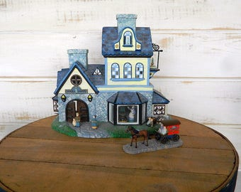 PartyLite Olde World Village #1 Candle Shoppe -  P7315 Tealight Candle Holder - Bonus Horse and Buggy