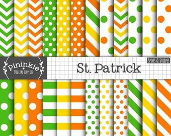 St Patricks Day Digital Papers, Chevrons, Polka Dots, Stripes, Green, Yellow and Orange Scrapbooking Paper, Instant Download, Commercial Use