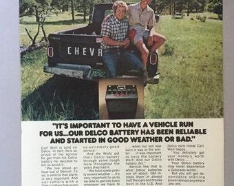 1974 Delco Batteries Print Ad - Colorado Winters - Chevy Pickup