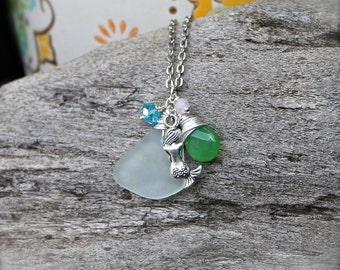 Sea Glass & Mermaid Necklace - Sea Glass Jewelry from Hawaii - Hawaiian Jewelry - Mermaid Jewelry - Ocean Inspired Pendant made in Hawaii